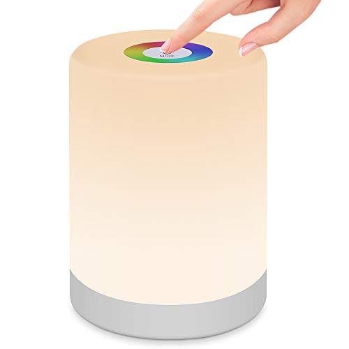StillCool Lámpara de Noche Inteligente, Luz de Mesa Regulable con RGB Luz, Mango y Modo SOS para Dormitorio Oficina Sala de Estar y Acampada