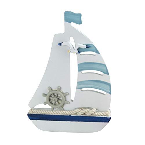 HEALLILY Adornos de barcos de vela en el Mediterráneo Decoración náutica en miniatura de madera para TV Cabinet Desktop Room Party
