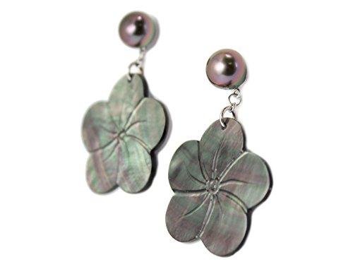 Perla, flor, nácar, pendientes Tahitian Toa Tiare, de nácar y perlas de Tahití