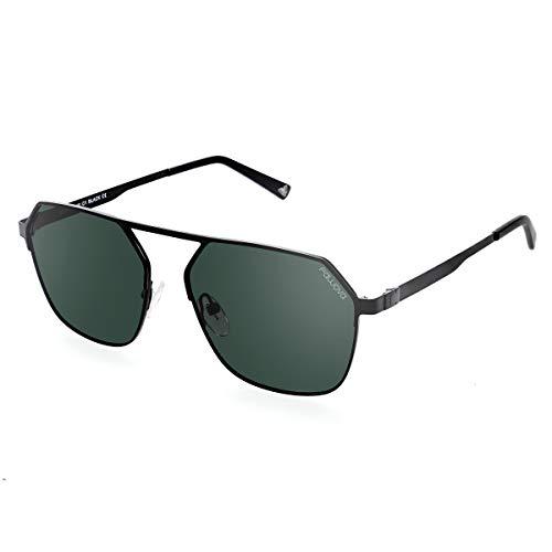fawova Gafas De Sol Hexagonales Hombre,Gafas Sol Geométricas Polarizadas, Gafas de Cuadradas, Gafas Poligonales UnisexMetal Negro Con Lente Verde,Conducir, Pescar, Golf, Correr UV400,Cat.3,56mm