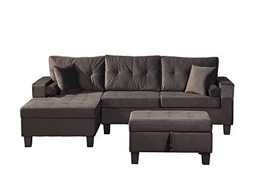 Home Deluxe - Sofagarnitur Rom Rechts - Farbe Samt Schwarz - 242,6 cm x 154,3 cm x 90,8 cm - inkl. Hocker   Sofagarnitur, Sofa, Couch, Wohnlandschaft