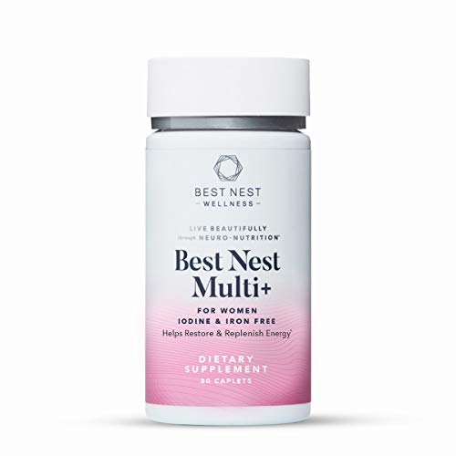 Best Nest Women's Multi+ Without Iron and Iodine, Vegan Multivitamins, Natural Whole Food Organic Blend, with Methylfolate, Once Daily Multivitamin, Immune Support, 30 Ct, Best Nest Wellness