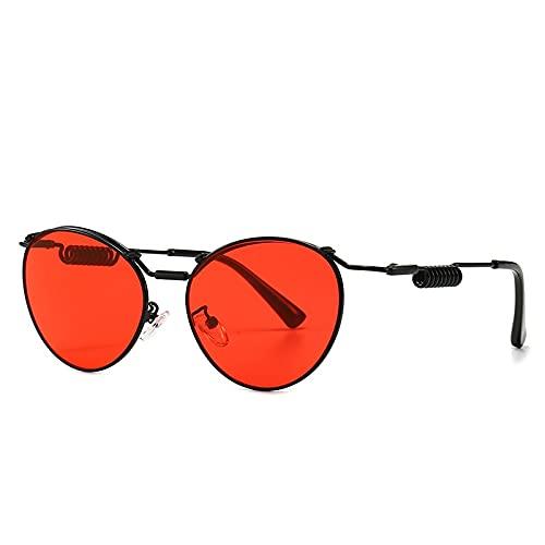 JIYANANDPNTYJ Gafas De Sol Mujer Gafas de Sol de Ojo de Gato de Moda Gafas de Sol de piernas Retro de Metal de Metal (Lenses Color : Black Red)