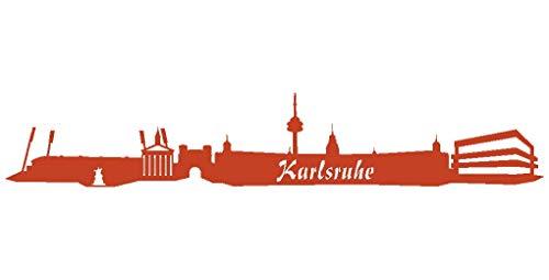 Samunshi® Wandsticker Karlsruhe Skyline in 8 Größen und 25 Farben (190x33cm kupfermetalleffekt)