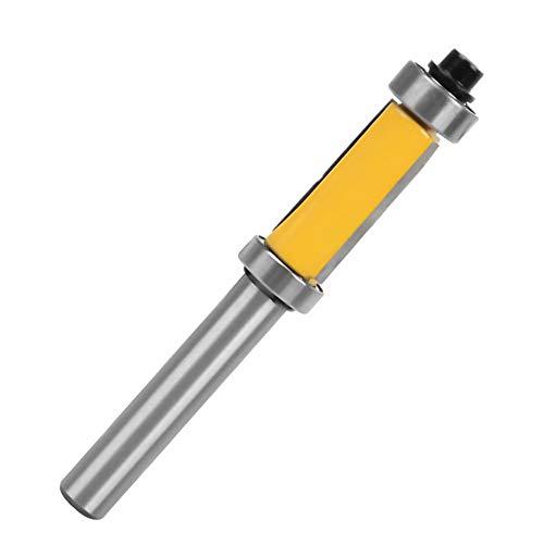 Gasea 8mm Queue Fraise à Affleurer Carbure de Tungstène C3 Fraise à Copier Supérieur et Inférieur de Roulement Couteau à Bois Jaune 25mm Coupe