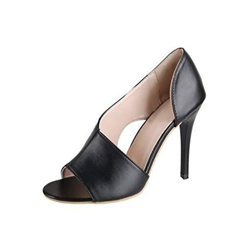 GJHYJK Sandalias De Cuero para Mujer Zapatos De Tacón Alto Sexy Ladie Fashion Stiletto Zapatos De Vestir De Graduación Zapatos De Boca Baja Todos Los Partidos De Verano,Black-39