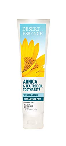 Desert Essence Arnica & Tea Tree Oil Toothpaste - Wintergreen - 6.25 Oz - Complete Oral Care - Tea Tree Oil - Baking Soda - Refreshes Mouth - High-Quality Ingredients - Sea Salt - Carrageenan Free