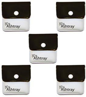 MyAshtray - Portacenere portatile, confezione da 5 pezzi, colore: Bianco/Nero