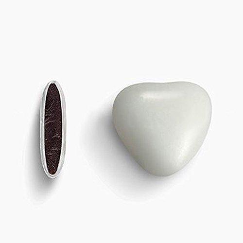 Herzdragees weiß 1 kg (ca. 500-550 Stück) - Gastgeschenke Hochzeit Bonboniere Candy Bar Give Aways - Schokolinsen Herz Schokodragees Schokoherzen Schokoladenherzen - Alternative zu Hochzeitsmandeln