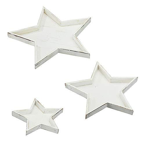 """Cepewa 3er Set """"Stern"""" Dekoteller in 3 Größen weiß Adventsteller Weihnachtsteller (1 x 3er Set Dekoteller weiß)"""
