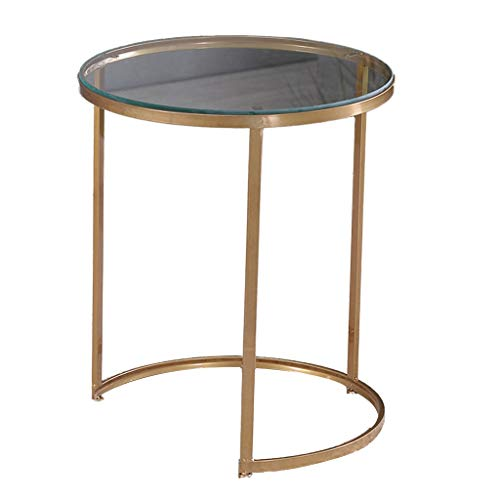 Z-W-DONG Metal Small Round Table, Multifunction Nesting Coffee Table for Living Room Balcony Bedroom Bedside Table Marble/glass Finish bedside tables (Color : Glass finish, Size : 50 * 50 * 60CM)