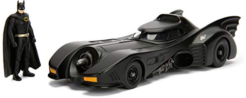 Jada Toys Dc Comic 1989 Batmobile with 2.75' Batman Metals Diecast Vehicle with Figure, Black