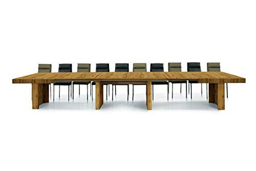 Fashion Commerce Tavolo FC1678, Legno, Rovere Nodato, 160 x 90 cm - 410 x 90 cm 18 posti