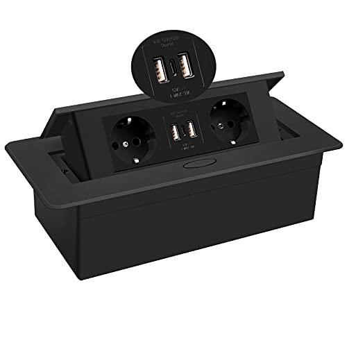 Regleta de enchufes, Escritorio emergente Oculto con 2 enchufes y 2 Puertos USB Caja de conexión Typec Negra