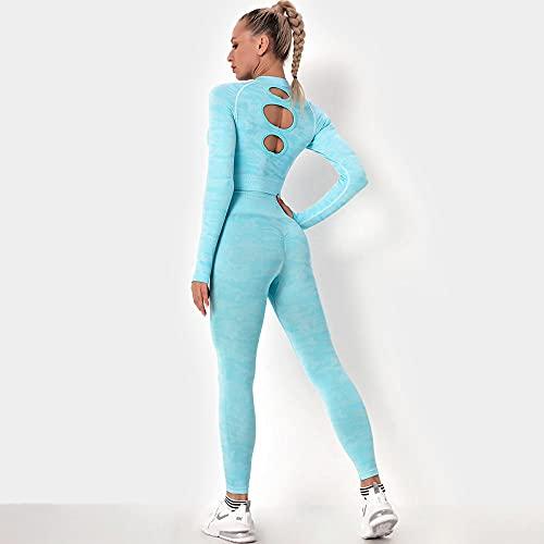 qqff Danza Conjunto Yoga Ropa Fitness,Ropa Deportiva Voleibol,Traje Dos Piezas Fitness y Yoga para Mujer,Azul,S,Leggings Yoga Mujeres Gym Mallas Pantalones Elásticos
