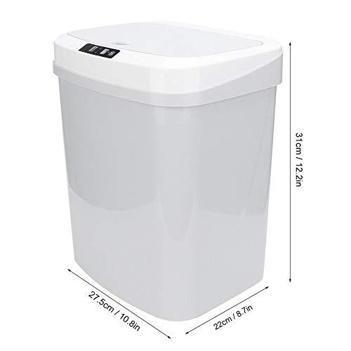 15L automatische Touchless intelligente inductie bewegingssensor vuilnisbak prullenbak, Touch-vrije rechthoekige keuken prullenbak kan recycler(wit)