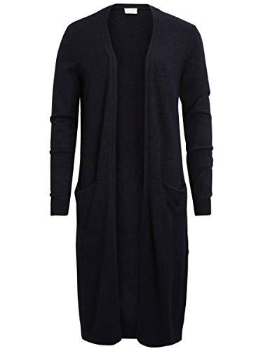 Vila Clothes Damen VIRIL L/S Long Knit Cardigan-NOOS Strickjacke, Blau (Total Eclipse Detail:Melange), L