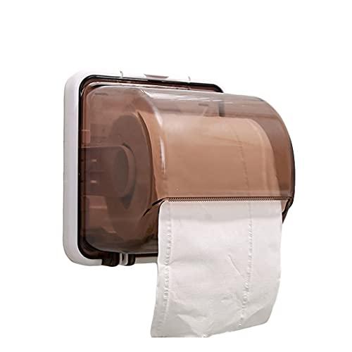 GDSMTG Soporte de Papel higiénico Impermeable Rollos de baño Rollos de Papel Montaje de Pared Sin Taladro Titular de Tejido de Pared Rollo de Papel Multifunción (Color : Brown)