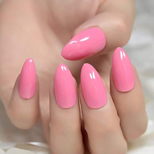 Echiq Rose vif Sharp End Amande Nail Art Jelly Rose ovale Stiletto Faux Faux ongles Conseils Manucure Coque intégrale de Réactivité Salon UV à ongles