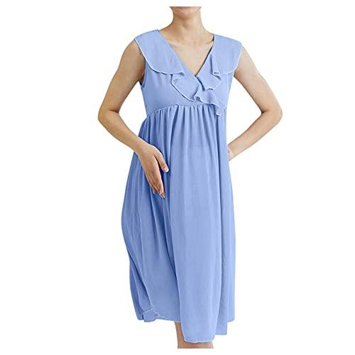 Vestido de para Premamá Largo sin Mangas Ropa Casual de Maternidad para Lactancia Midi Vestido de Plisda Cuello V en Color Sólido hasta la Rodilla