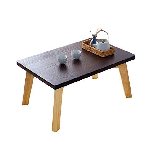 Tables Tatami Basse Basse Moderne Baie Vitrée Style Japonais en Bois Massif Balcon Petite Basse Salon Simple À Thé Basses (Color : Brown, Size : 60 * 40 * 30cm)