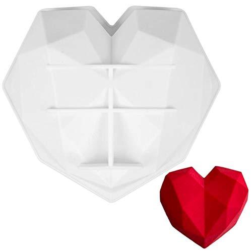 3D Silikon Herzform Silikon Schokoladenform in Herzform Silikonform mit Herzen 3D Schokoladenform in Herzform Silikon Herzchen Backform Silikon Herzbackform für Schokolade Süßigkeiten Gelee 2pcs(Weiß)