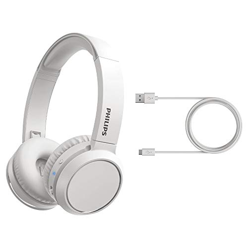 Philips Audio On Ear Kopfhörer mit Bass Boost-Taste (Bluetooth, 29 Stunden Wiedergabezeit, Schnellladefunktion, Geräuschisolierung, Zusammenklappbar), 2020/2021 Modell, TAH4205WT/00 Einheitsgröße, Matt weiß