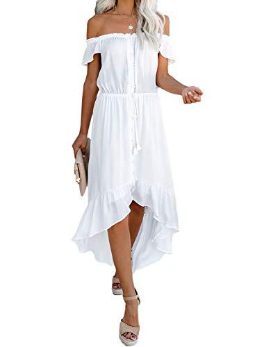 Elapsy Damen Sommerkleid, schulterfrei, Maxikleid, mit Knöpfen, Taillenbund, Freizeitkleid Gr. 42/44, weiß