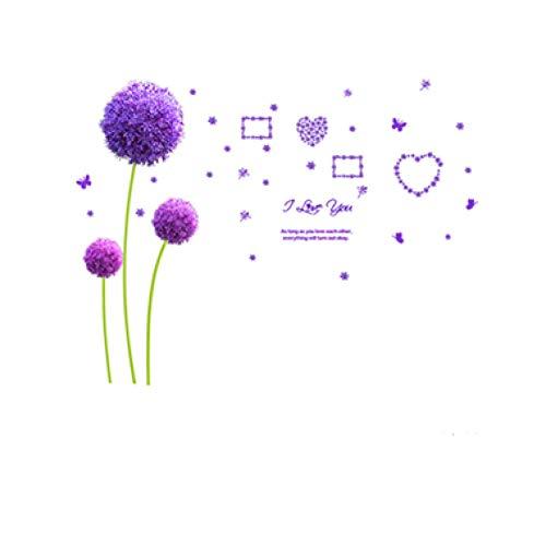 JTYQT Piano Meisje Muursticker DIY Paarse Dandelions Bloem muurstickers voor Kinderen Kamer Baby Slaapkamer Woonkamer Decoratie