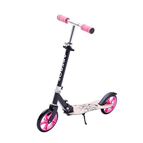 AREBOS Tretroller Scooter | XXL Räder | Trageband | rutschfeste Trittfläche | Höhenverstellbar | Tritt-Bremse | max. 100 kg | Pink