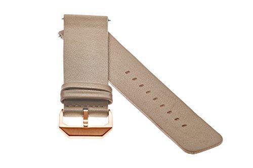 slow - Beiges Lederband mit Rose goldenem Verschluss - 20mm Breite
