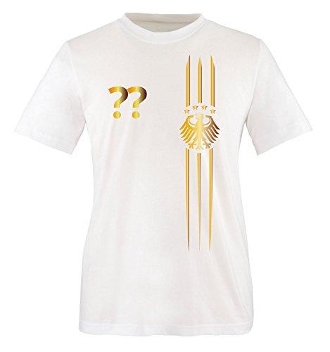 Trikot - MOTIV1 - DE - WUNSCHDRUCK - Kinder T-Shirt - Weiss/Gold Gr. 98-104