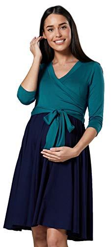 HAPPY MAMA Mujer Vestido Midi Amamantamiento Cuello en V 525 (Botella Verde & Armada, 44-46, 2XL)