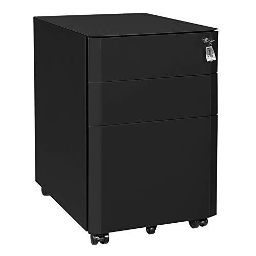 SONGMICS Rollcontainer, mobiler Aktenschrank, abschließbar, Büroschrank aus Stahl mit 3 Schubladen, für Akten und Dokumente, mit Hängeregistratur, fürs Büro, Arbeitszimmer, schwarz OFC70BK