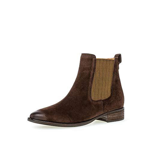 Gabor Damen Chelsea Boots, Frauen Stiefeletten, Stiefel halbstiefel Bootie Schlupfstiefel flach,Mocca (Curry),39 EU / 6 UK