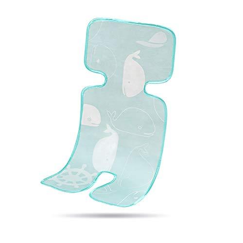 Dunflop Atmungsaktive Kinderwagen Kissen, Sommer Kinderwagen Ice Silk Mat Baby Sommer Verdickung Mat Mat Kinderwagen (1 Stück) (Color : Ice Silk Green Whale)