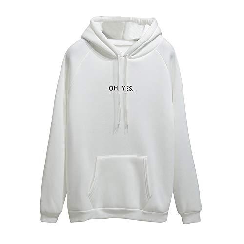 Xmiral Damen Hoodie Polyester Langarm Brief Drucken Pocket Sweatshirt Pullover Tops Bluse (M,Weiß)