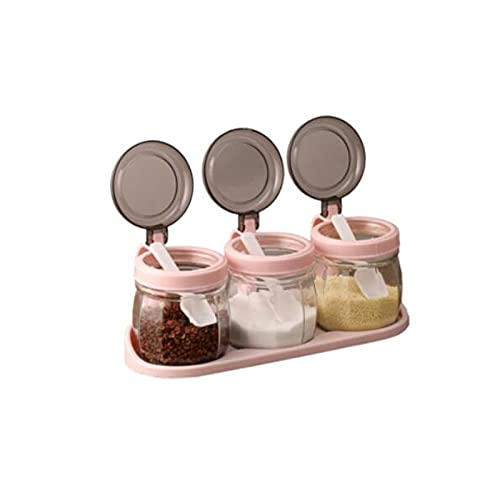 Qxinjinxtwg Spice Box Condiment Container, Glass Made, Suitable for Kitchen.Product Size: 8.4cm*10.2cm, 3 Pcs
