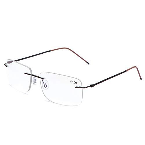Randlose Progressive Multifokal-Lesebrille für Frauen Männer Titanlegierung Federscharnie Multifokus-Lesegerät Fokus Glaser Intelligenter Zoom Nah Fern Dual-Use-Brillen Blaulichtfilter Computer Brille