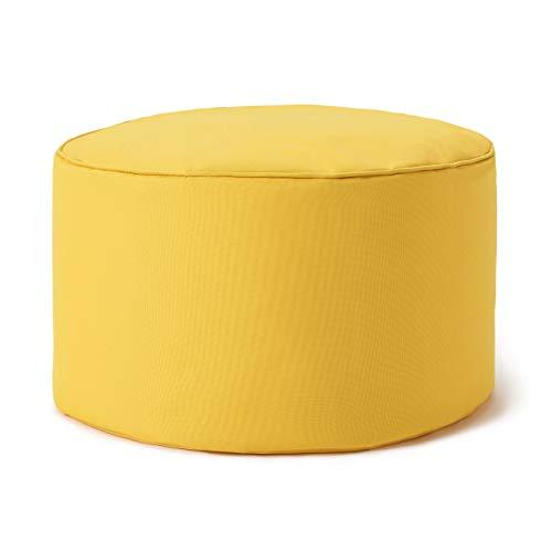 Lumaland Indoor Outdoor Sitzhocker 25 x 45 cm - Runder Sitzpouf, Sitzsack Bodenkissen, Sitzkissen, Bean Bag Pouf - Wasserabweisend - Pflegeleicht - ideal für Kinder und Erwachsene - Gelb