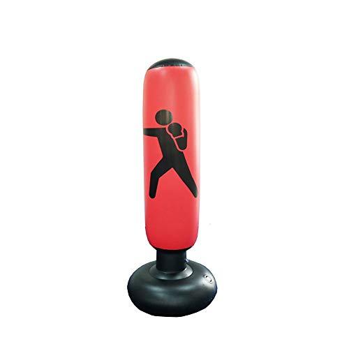 Rubyu Standboxsack Anti-Frust freistehender Boxstand für Kinder Boxsack zum Aufblasen 160 cm hoch Rot und Gelb