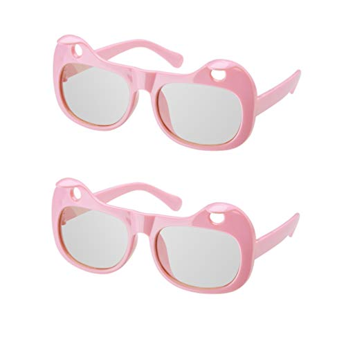 Passive Polarized 3D Glasses, Plastic 3D Vr Eyewear, Goggles, Anti-Scratch Ienses, for REALD Screen or 3D Screen/Projection, Sunglasses, for Adult Childrens(2 Pack) (Color : Pink)
