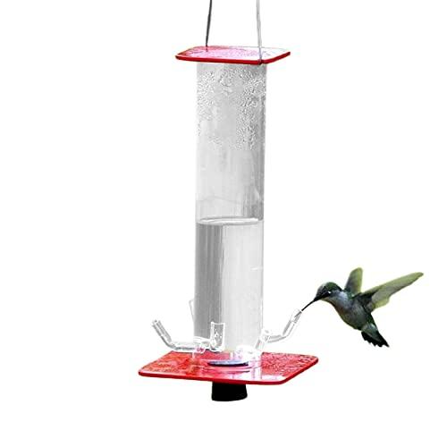 Comedero Para Pájaros Estación De Alimentación De Aves Silvestres Con 5 Salidas De Agua, Colgante Cilíndrico Tubo Transparente Comedero Para Pájaros