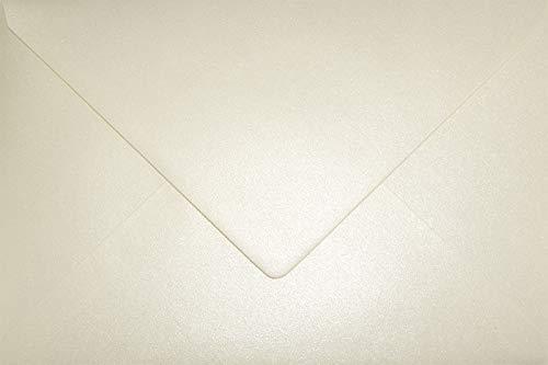 100 Perlmutt-Creme DIN C5 Briefumschläge 162x229 mm Aster Metallic Cream Spitzklappe ohne Fenster Perlmutt-Glanz-Umschläge Perlglanz Pearls Perleffekt metallisch-glänzende Kuverts Metallic-Effekt