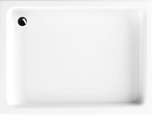 VBChome Acryl-Duschwanne 80x100x26 cm Duschtasse Grawello rechteckig Duschkabine Styroporträger Sanitär-Acryl Duschbecken stabil weiß befliesbar+ Viega Domoplex