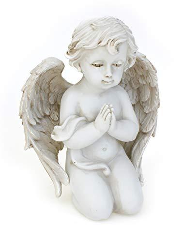 Deko Engel Figur Grabengel Betend 14 cm, Polystein Altweiß Antik Weiß Dekoengel Trauernd Grabschmuck Engelkind Grabstein