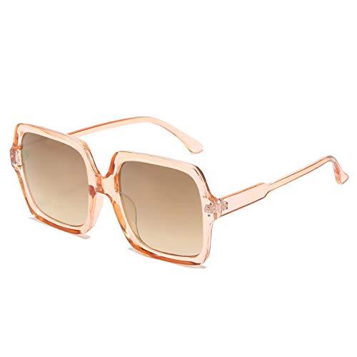 Gafas de Sol,Tendencia de la moda gafas de sol de montura grande, color champán, gafas de sol retro midin, gafas de pasarela de tiro callejero, montura de té transparente, tirano local dorado