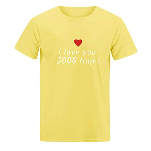 Onegirl Lovers Tops I Love You 3000 Times Pay Tribute to Iron Man,Women Man Couple Print Plus Size T Shirt Tops