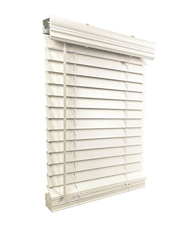 US Window And Floor 2 Faux Wood 33.5 W x 60 H, Inside Mount Cordless Blinds, 33.5 x 60, White
