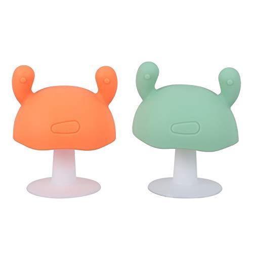 STOBOK 2 unids bebé mordedor juguetes succión hasta silicona dentición juguetes en forma de seta chupete de silicona juguete masticar bebé calmante juguete para bebé niño pequeño